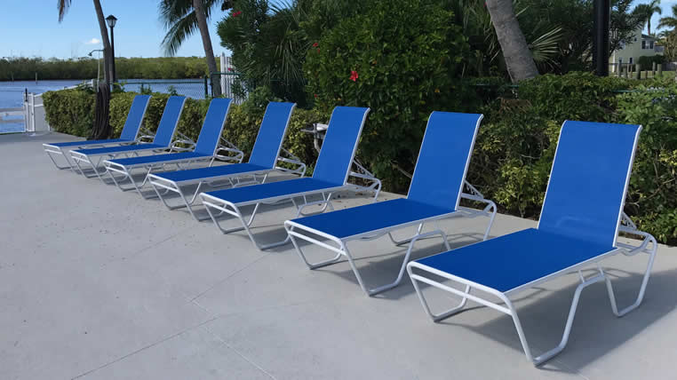 aluminum sling chaise lounges