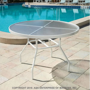A42 Acrylic 42 Inch Round Outdoor Table Commercial Grade Pool