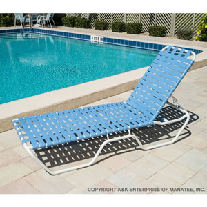 C120b 12 Inch Basketweave Strap Chaise Lounge Commercial