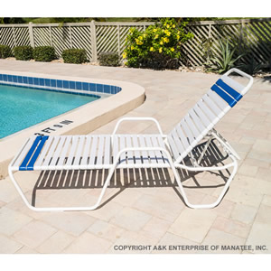 C145 14-inch Strap Chaise Lounge with Arms