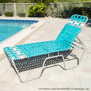 C200b 20 Inch Basketweave Strap Chaise Lounge Commercial
