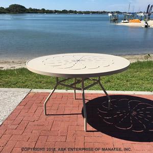 Ptc48 Aluminum 48 Inch Round Aluminum Patio Table Commercial Grade