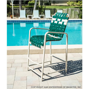 R75B Basketweave Strap Patio Bar Stool with Arms