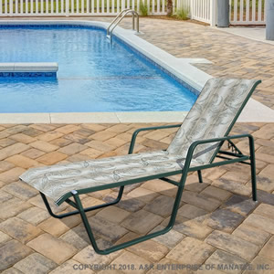 "SR-165 16"" Flat Arm Sling Chaise Lounge"