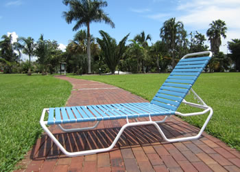 blue outdoor chaise lounge