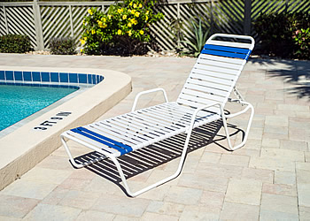 C145 stackable chaise lounge with arms