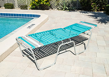 C200 aluminum chaise lounge sits 20-inches high